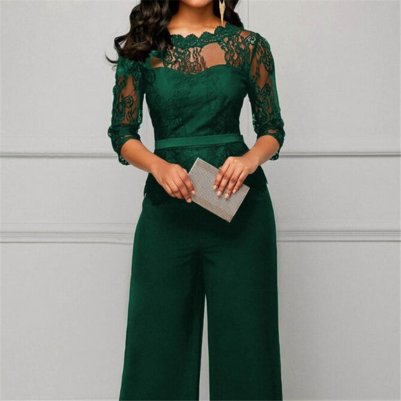 Women Color Playsuit Romper Half Lace Sleeve Elegant Long Jumpsuit