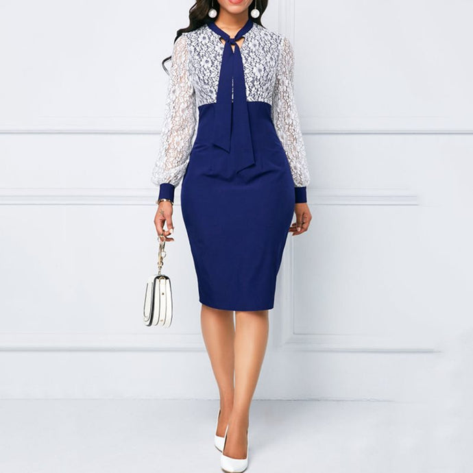 Elegant Women Dress Blue Lace Puff Sleeve Bodycon Dress Office Lady Business Dresses