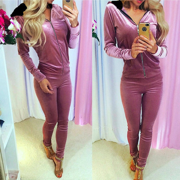 Velvet Two Piece Women Set Hoodie Sweatshirt & Skinny Pants Velour 2pcs Sets Female Fitness Sporting Suit