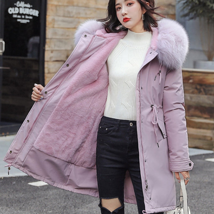 Women Winter Velvet Fur Hooded Plus Size Thick Long Coat