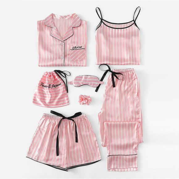 7 Pcs Pink Striped Sleepwear Set