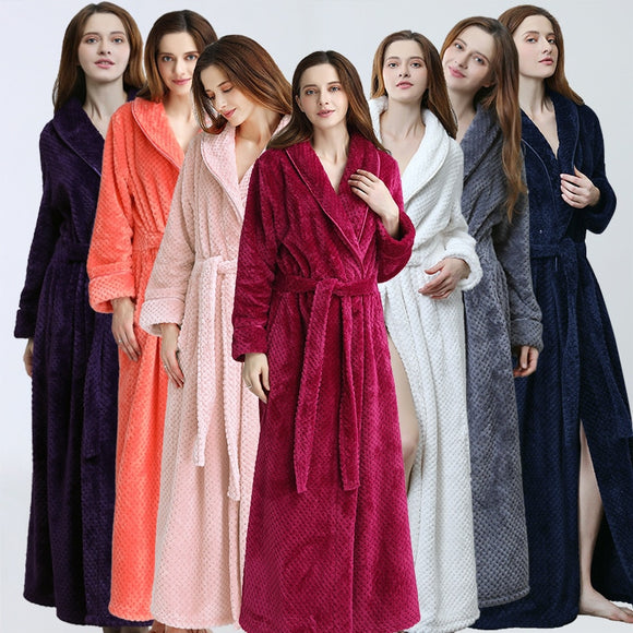 Women's Winter Warm Long Soft Bathrobe