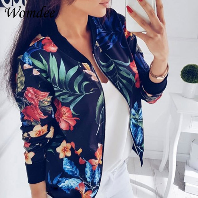 Women Retro Floral Print Zipper Casual Coat Jacket