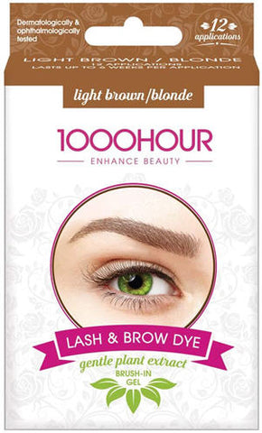 1000 Hour Eyelash and Brow Dye Kit Gentle Plant Extract Light Brown Blonde - 12 Applications
