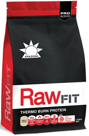 Amazonia RawFit Thermo Burn Protein Vanilla Toffee 1.25kg - New Zealand Only