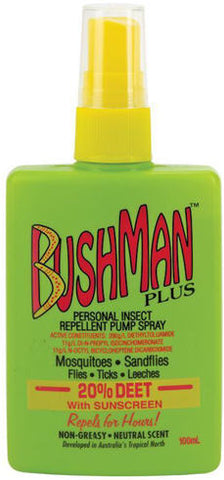 Bushman Plus 20% Deet with Sunscreen Pump Spray 100ml