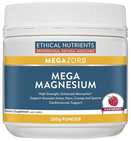 Ethical Nutrients Mega Magnesium Powder Raspberry 200g - New Zealand Only