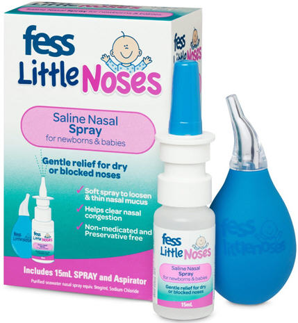 FESS Little Noses Saline Spray 15ml and Nasal Aspirator
