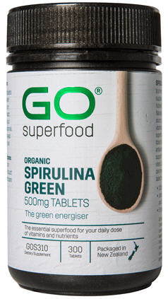 GO Spirulina Green Organic 500mg Tablets 300