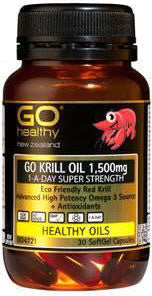 Go Healthy GO Krill Oil 1,500mg Super Strength 1-A-Day Capsules 30