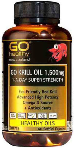 Go Healthy GO Krill Oil 1,500mg Super Strength 1-A-Day Capsules 60