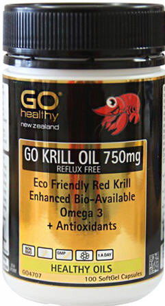 Go Healthy GO Krill Oil 750mg Reflux Free Capsules 100