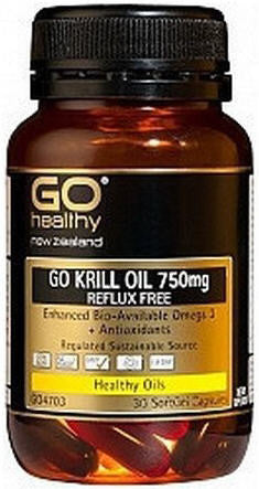 Go Healthy GO Krill Oil 750mg Reflux Free Capsules 30