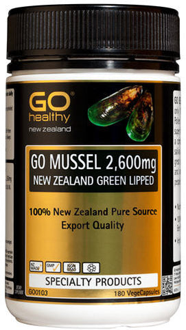 Go Healthy GO Mussel 2,600mg New Zealand Green Lipped Mussel Capsules 180