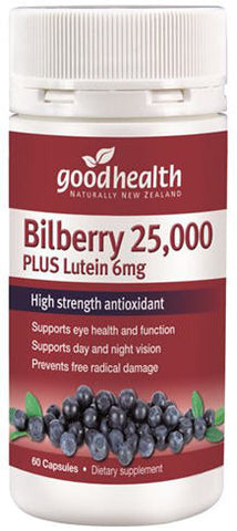 Good Health Bilberry 25,000 Plus Lutein 6mg Capsules 60