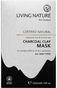 Living Nature Charcoal Clay Mask Sachets 10 x 5ml