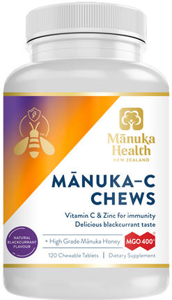Manuka Health Manuka-C Chews MGO 400+ Chewable Tablets 60