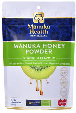 Manuka Health Manuka Honey Powder with New Zealand Kiwifruit Sachets 10 x 10g