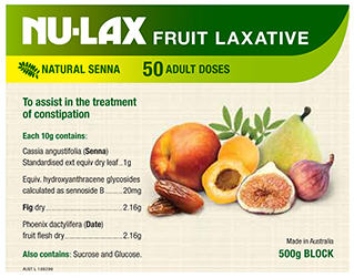 Nu-Lax Fruit Laxative Block 500g - New Zealand Only