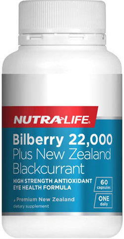 Nutra-Life Bilberry 22,000 Plus NZ Blackcurrant Capsules 60