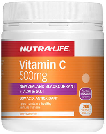 Nutra-Life Vitamin C Blackcurrant, Acai and Goji Chewable Tablets 200