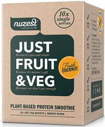 Nuzest Just Fruit & Veg Plant Based Protein Smoothie Fresh Coconut Sachets 25g x 10