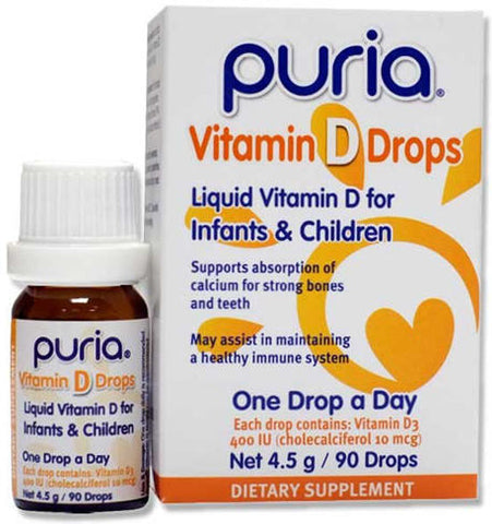 Puria Vitamin D Drops for Infants and Children 4.5g