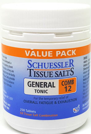 Schuessler Tissue Salts General Tonic Combination 12 Tablets 250