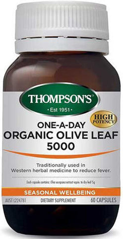 Thompson's Organic Olive Leaf 5000mg One-A-Day Capsules 60