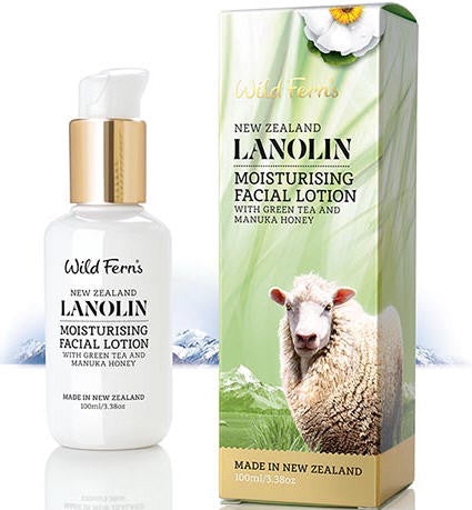 Wild Ferns Lanolin Moisturising Facial Lotion with Green Tea and Manuka Honey 100ml