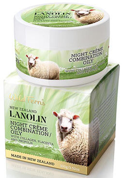 Wild Ferns Lanolin Night Creme with Collagen, Placenta and Propolis Combination to Oily 100g