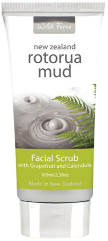 Wild Ferns Rotorua Mud Facial Scrub with Grapefruit & Calendula 100ml