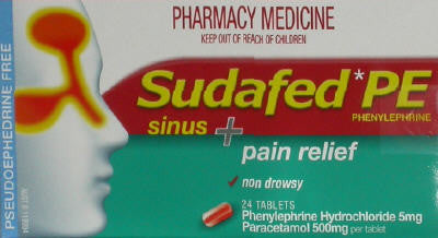 Sudafed PE Sinus and Pain Relief Tablets 24