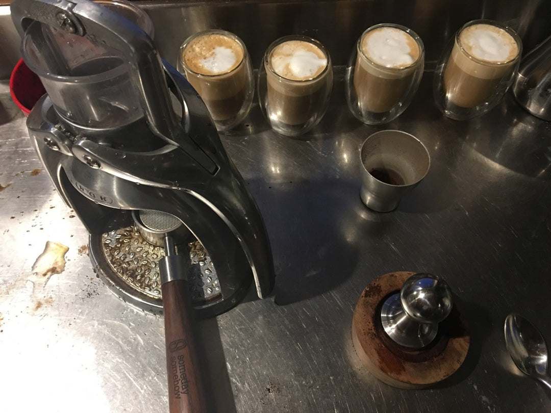 Four Fast Flat Whites Made Manually