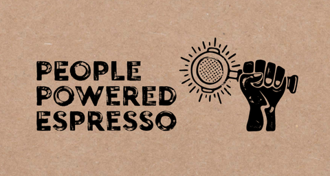 people powered espresso logo image of a portafilter in a hand