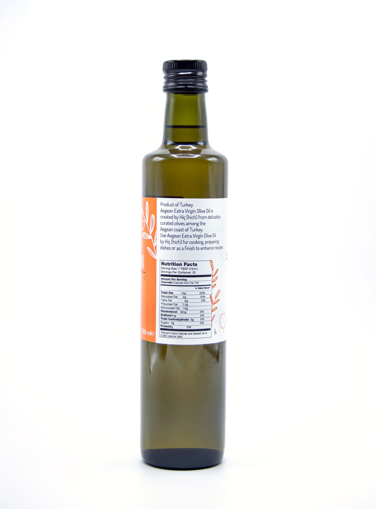 Aegean, by Hic Extra Virgin Olive Oil 500ml/16.9 Fl. Oz.
