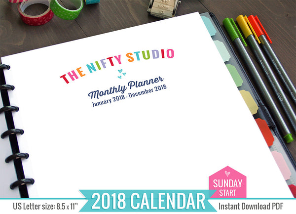 2018 Printable Monthly Inserts (Sunday Start)