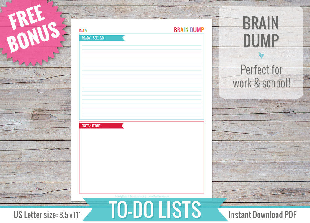 image relating to Brain Dump Printable called In direction of Do Lists Inserts Printable