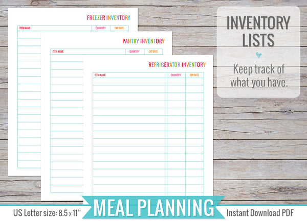 Meal Planning Inserts Printable
