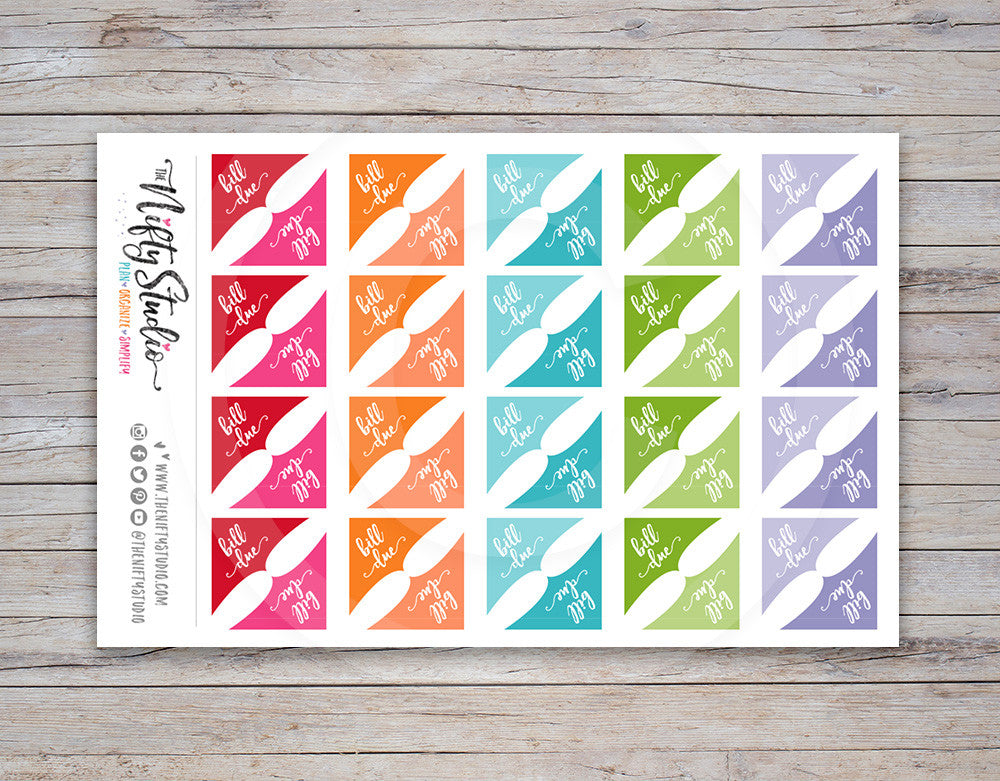 Bill Due Corner Planner Stickers (#105)