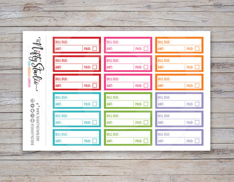 Bill Due Planner Stickers (#104)