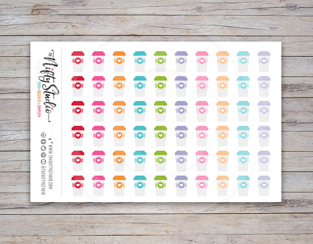 Coffee Cup Planner Stickers (#111)