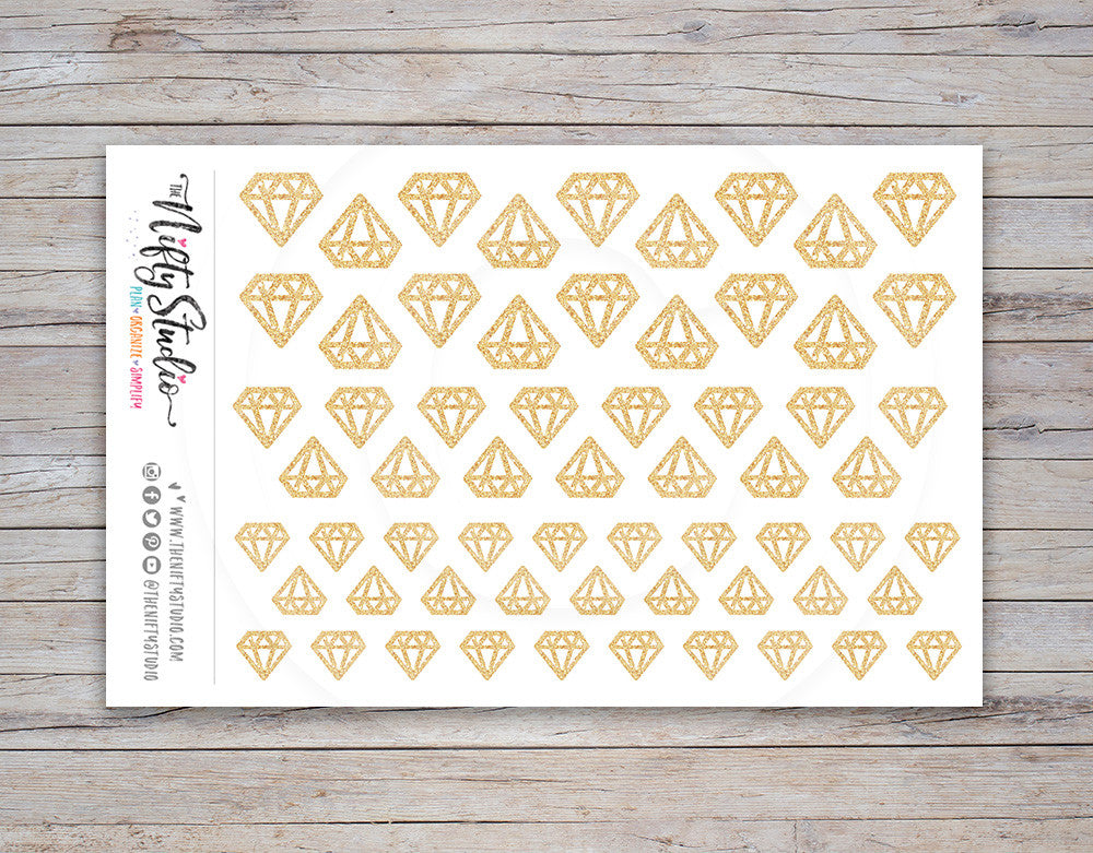 Gold Diamond Planner Stickers (#116)