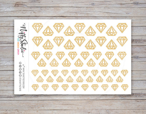 Diamond Planner Stickers Gold