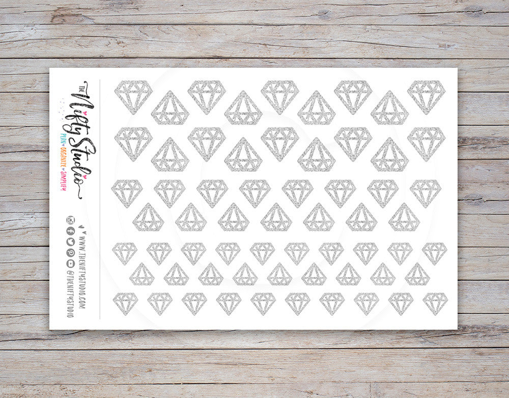 Silver Diamond Planner Stickers (#117)