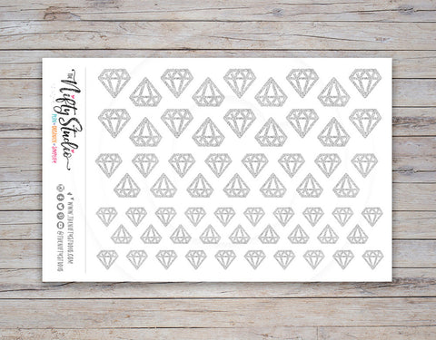 Diamond Planner Stickers Silver