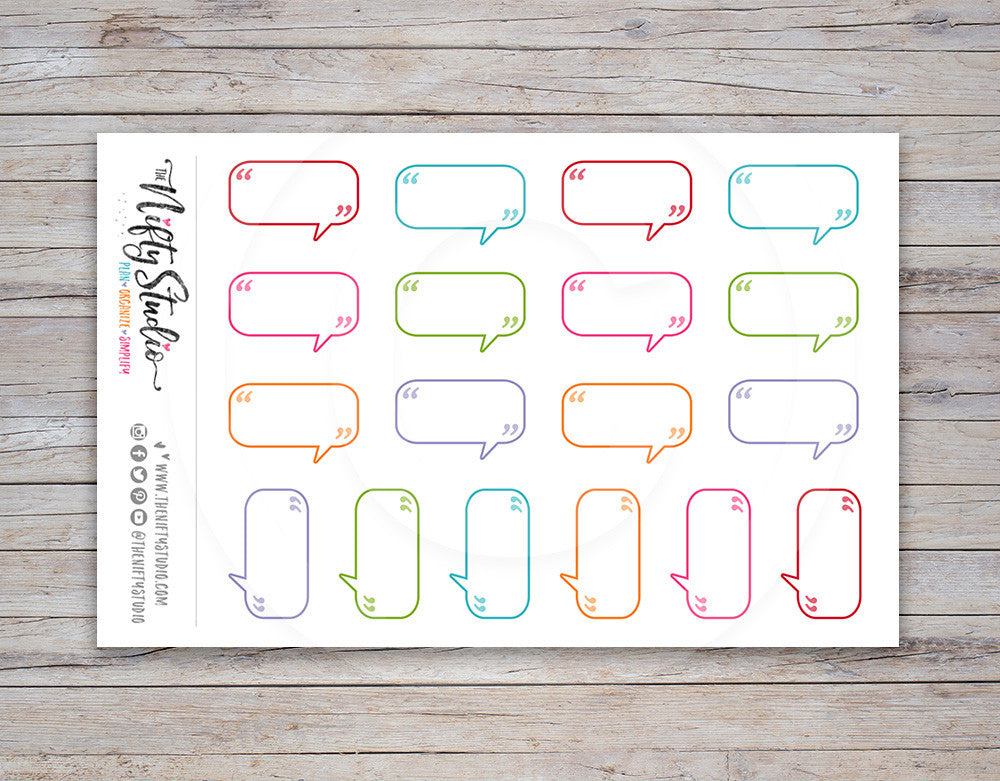 Talk Bubbles Small Planner Stickers