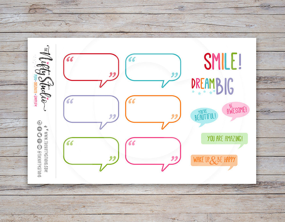 Talk Bubbles Planner Stickers