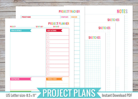Project Planning Inserts Printable