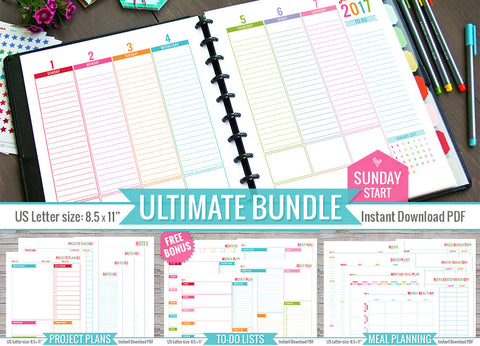 Ultimate 2017 Printable Monthly Inserts Bundle (Sunday Start)
